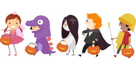 Illustration Featuring Kids Wearing Different Halloween Costumes Stock Illustratie