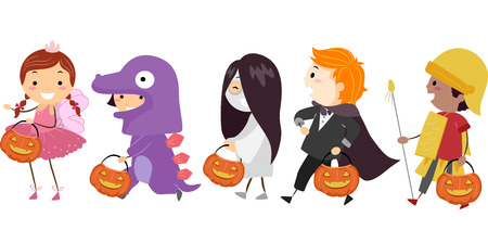 Illustration Featuring Kids Wearing Different Halloween Costumes Иллюстрация