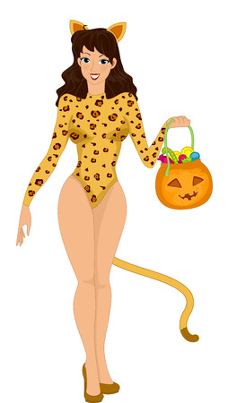 cosplay: Illustration Featuring a Woman Trick or Treating in a Cat Costume