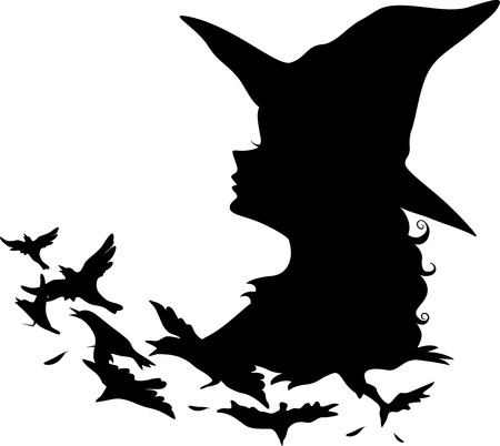 witch silhouette: Illustration Featuring the Silhouette of a Witch Transforming Into Birds