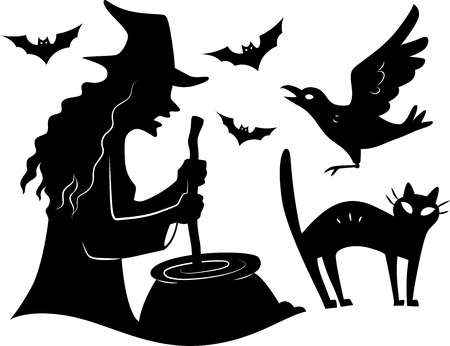 enchantress: Illustration Featuring the Silhouettes of Different Halloween Characters Illustration
