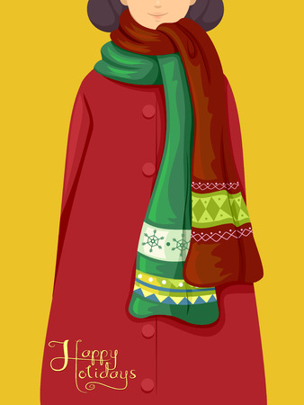 scarves: Illustration Featuring a Girl Wearing Christmas-Themed Scarves