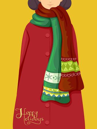 sciarpe: Illustrazione con una ragazza che indossa sciarpe a tema natalizio