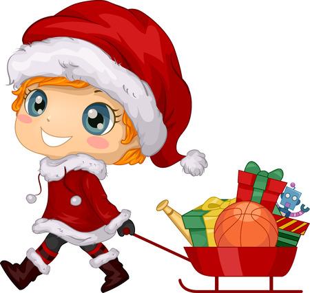 pull toy: Ilustración con un muchacho que tira de un carro lleno de regalos de Navidad