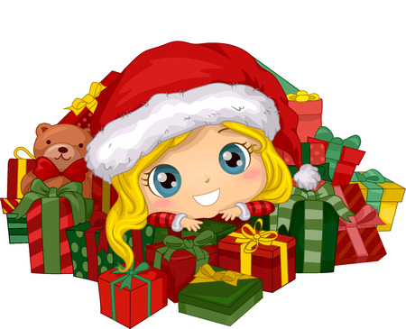 santa girl: Illustration Featuring a Girl Surrounded by Christmas Gifts