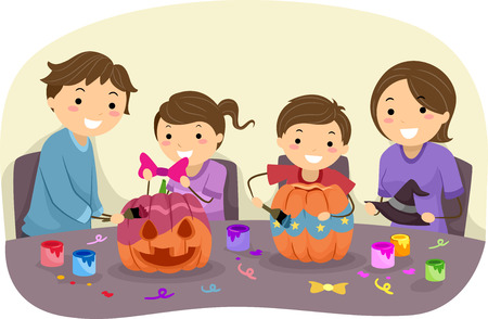 Illustration Featuring a Family Decorating Pumpkins Together Vector