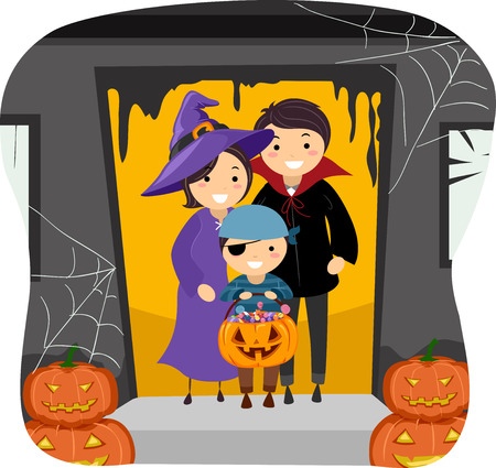 trick or treating: Illustration Featuring a Family Trick or Treating Together Illustration