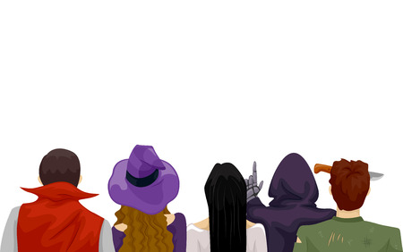 preadult: Back View Illustration Featuring Teenagers Wearing Different Halloween Costumes