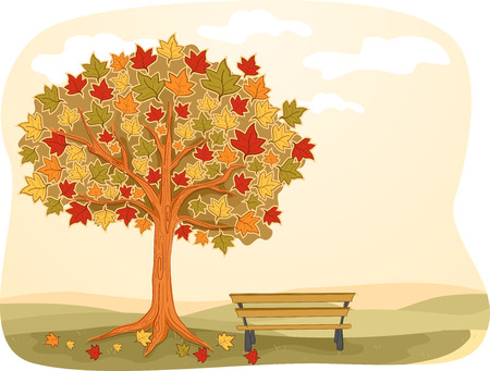 fade out: Illustration Featuring a Park Bench Installed Beside a Maple Tree