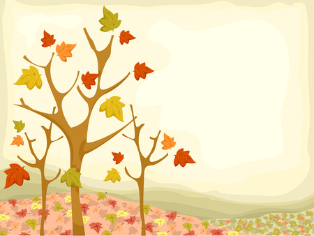 autumn trees: Background Illustration Featuring Autumn Trees Illustration