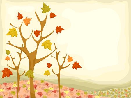 Background Illustration Featuring Autumn Trees Ilustração