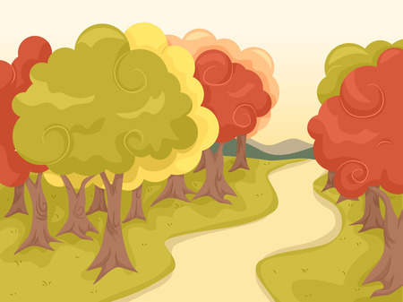 Illustration Featuring a Trail Lined Up with Maple Trees Ilustração