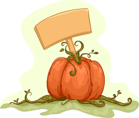 Illustration Featuring a Pumpkin with a Blank Board Stuck on It Vector