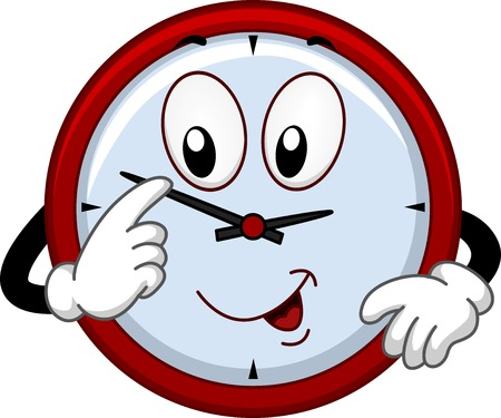 Mascot Illustration Featuring a Clock Adjusting the Time
