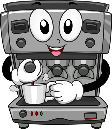 espresso machine: Mascot Illustration Featuring a Coffee Machine Dispensing Coffee