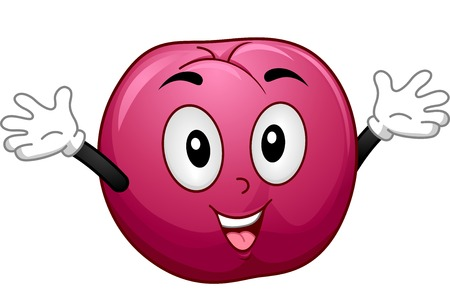 Mascot Illustration Featuring a Plum with Its Arms Opened Wide Vector