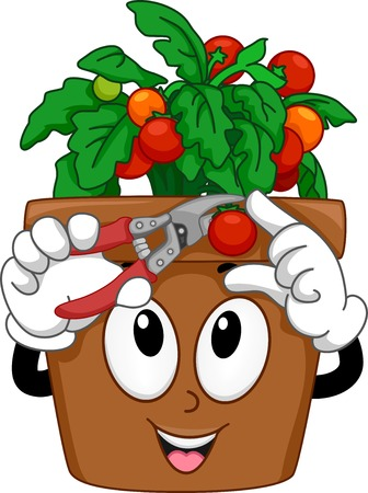 vegetable gardening: Mascot Illustration Featuring a Pot of Cherry Tomatoes Cutting Its Fruit
