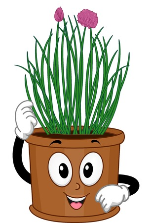chives: Mascot Illustration Featuring a Pot of Chives