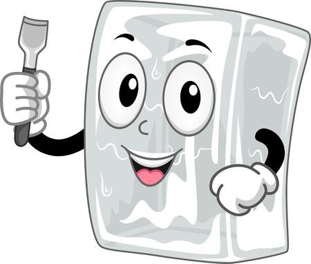 マスコットの図は、氷の彫刻刀を保持している氷のブロックを備え