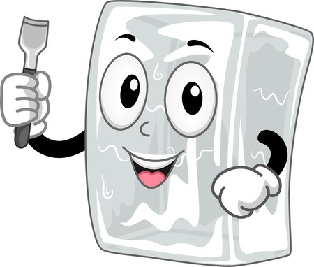 cartoonize: Mascot Illustration Featuring a Block of Ice Holding an Ice Chisel
