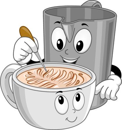 latte art: Mascot Illustration Featuring a Pitcher Making Latte Art