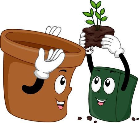 potting soil: Mascot Illustration Featuring Pots Transferring Plants Illustration