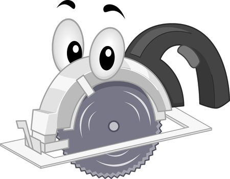 Mascot Illustration Featuring a Portable Saw Vector