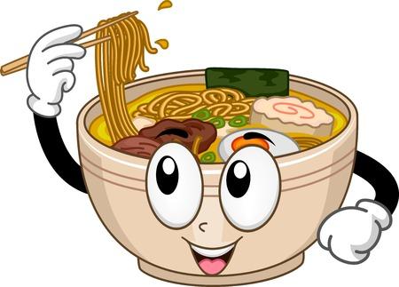 asian noodle: Mascot Illustration Featuring a Bowl of Ramen Illustration