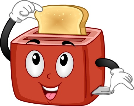 Mascot Illustration Featuring a Toaster Checking Out a Piece of Bread Illustration