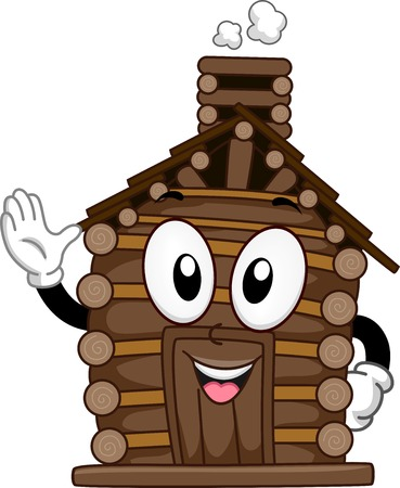 Mascot Illustration Featuring a Waving Log Cabin Vector