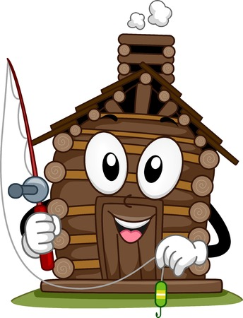 woody: Mascot Illustration Featuring a Cabin Holding a Fishing Pole Illustration