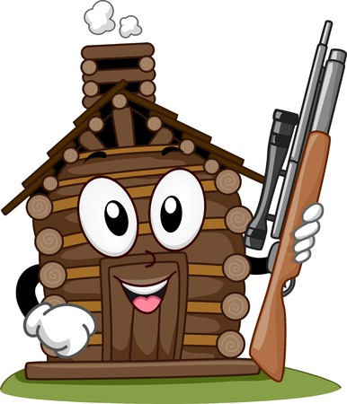 hobby hut: Mascot Illustration Featuring a Hunting Cabin Holding a Rifle