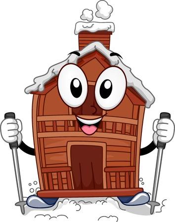 ski lodge: Mascot Illustration Featuring a Ski Lodge