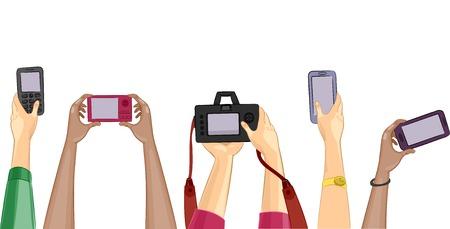 Bijgesneden illustratie met mensen vasthouden verschillende camera's