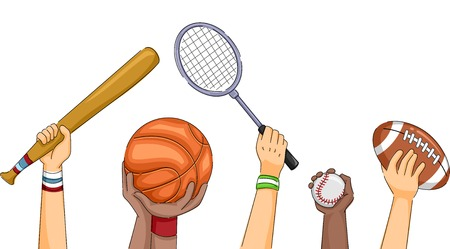 cropped: Cropped Illustration Featuring Hands Holding Different Sports Equipment