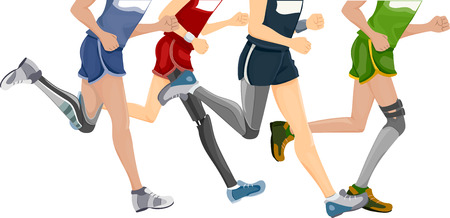 prosthetic: Cropped Illustration Featuring Runners Wearing Prosthetic Legs Illustration