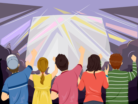 Back View Illustration Featuring the Audience of a Concert Cheering from Below Vector