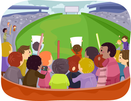 sporting event: Illustration Featuring a Game Arena with Sports Fans Cheering From the Bleachers Illustration