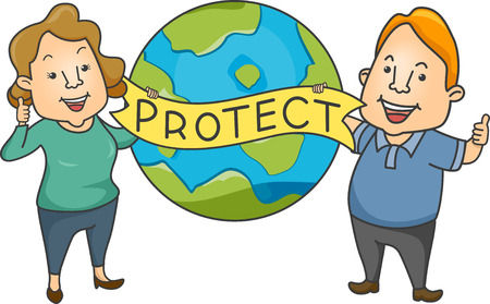 advocates: Illustration Featuring a Man and a Woman Advocating Environmental Protection