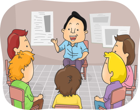 group therapy: Illustration Featuring a Group of Men in a Counseling Session Illustration