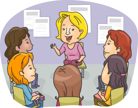 group therapy: Illustration Featuring a Group of Women Attending a Counseling Session Illustration