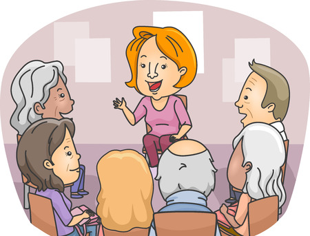 group therapy: Illustration Featuring a Group of Senior Citizens in a Counseling Session