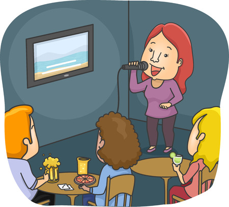 chill out: Illustration Featuring a Woman Singing in a Karaoke Bar