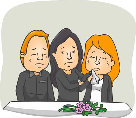 Illustrazione con gente che piangeva in un servizio funebre Archivio Fotografico - 32749423
