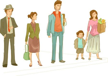 Illustration Featuring a Group of People Waiting at a Pedestrian Lane Ilustração