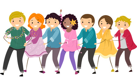 Illustration Featuring a Group of People in a Conga Line Illustration
