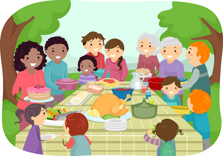 gatherings: Illustration Featuring a Group of People Enjoying a Potluck Party Outdoors