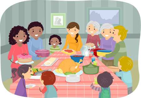 potluck: Illustration Featuring a Group of People Enjoying a Potluck Party