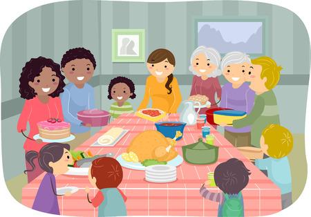 Ilustración con un grupo de gente disfrutando de una fiesta de Potluck