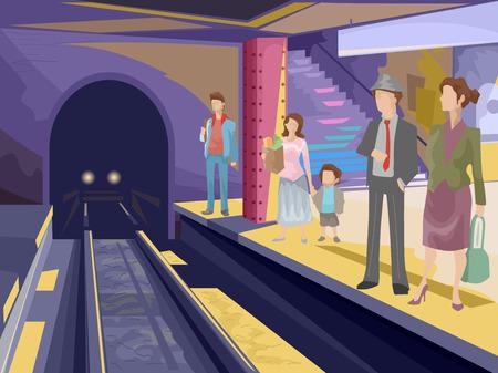 estación del metro: Ilustraci�n con pasajeros que esperan en una estaci�n de metro